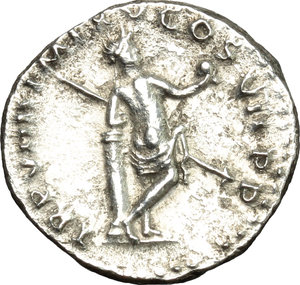reverse: Titus (79-81).  AR Denarius, 79 AD (after July 1st). Obv. IMP TITVS CAES VESPASIAN AVG P M. Laureate head right. Rev. TR P VIIII IMP XV COS VII PP. Venus standing right, naked except for drapery around hips, leaning on cippus, holding spear and helmet. RIC 15 a. AR. g. 3.13  mm. 17.50   An attractive example, perfectly centred, of this fascinating type. Minor roughness, otherwise good VF/About EF.