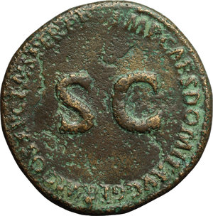reverse: Julia Titi, daughter of Titus (died 90 AD).  AE Sestertius, Rome mint. Struck under Domitian, 91 AD. Obv. DIVAE IVLIAE AVG DIVI TITI F SPQR. Carpentum drawn right by two mules. Rev. IMP CAES DOMIT AVG GERM COS XV CENS PER PP around large SC. RIC (Domit.) 400. C. (Julia) 9 (Fr. 15). AE. g. 19.17  mm. 33.50  R. Rare. Brown patina, with green spots. About VF/VF.