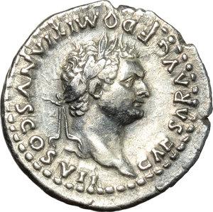 obverse: Domitian as Caesar (69-81).  AR Denarius, 80 AD. Obv. CAESAR AVG F DOMITIANVS COS VII. Laureate bust right. Rev. PRINCEPS IVVENTVTIS. Vesta seated left, holding palladium and sceptre. RIC (Titus) 42. AR. g. 3.10  mm. 18.50  Scarce.  About EF.