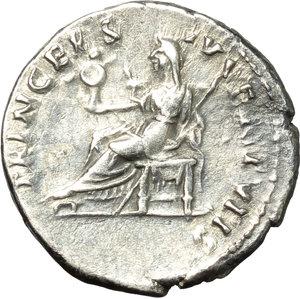 reverse: Domitian as Caesar (69-81).  AR Denarius, 80 AD. Obv. CAESAR AVG F DOMITIANVS COS VII. Laureate bust right. Rev. PRINCEPS IVVENTVTIS. Vesta seated left, holding palladium and sceptre. RIC (Titus) 42. AR. g. 3.10  mm. 18.50  Scarce.  About EF.