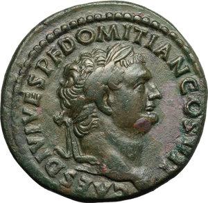 obverse: Domitian as Caesar (69-81).  AE Dupondius, Rome mint, 80-81 AD. Obv. CAES DIVI VESP DOMITIAN COS VII. Laureate head right. Rev. CONCORDIA AVG SC. Concordia seated left, holding patera and cornucopiae. RIC (Titus) 166 a. C. 39. AE. g. 15.23  mm. 28.00   A very attractive example. Dark green patina. Good VF/VF.