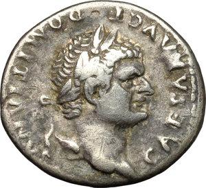 obverse: Domitian as Caesar (69-81).  AR Denarius, struck under Vespasian, 76 AD. Obv. CAESAR AVG F DOMITIANVS. Laureate head right. Rev. COS IIII. Pegasus walking right. RIC 238. C. 47. AR. g. 3.13  mm. 19.00  Scarce.  VF/About VF.