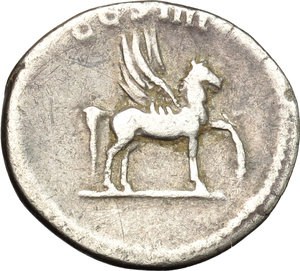 reverse: Domitian as Caesar (69-81).  AR Denarius, struck under Vespasian, 76 AD. Obv. CAESAR AVG F DOMITIANVS. Laureate head right. Rev. COS IIII. Pegasus walking right. RIC 238. C. 47. AR. g. 3.13  mm. 19.00  Scarce.  VF/About VF.