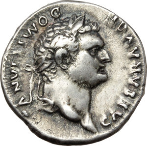 obverse: Domitian as Caesar (69-81).  AR Denarius, Rome mint, 77-78 AD. Obv. CAESAR AVG F DOMITIANVS. Laureate head right. Rev. COS V. Soldier, raising hand, on horse rearing right. RIC 242. AR. g. 3.39  mm. 18.50  R. Rare. A superb portrait, in high relief. Prettily toned, with golden hues. Good VF.
