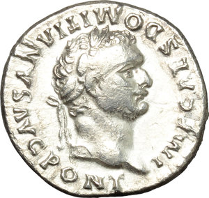 obverse: Domitian (81-96).  AR Denarius, 81 AD. Obv. IMP CAES DOMITIANVS AVG PONT. Laureate head right. Rev. TR P COS VII DES VIII PP. Minerva standing left, holding Victory and spear. RIC 10. AR. g. 3.17  mm. 18.00   Brilliant and lightly toned. Good VF/About EF.