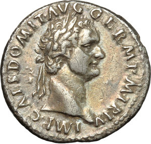 obverse: Domitian (81-96).  AR Denarius, 86 AD. Obv. IMP CAES DOMIT AVG GERM PM TR P V. Laureate head right. Rev. IMP XII COS XII CENS PPP. Minerva standing left, holding thunderbolt and spear; at her feet, a shield. RIC 81. C. 202. AR. g. 3.07  mm. 20.00   Enchanting iridescent and golden tone. About EF.