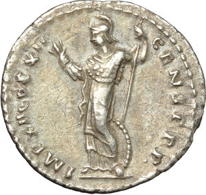 reverse: Domitian (81-96).  AR Denarius, 86 AD. Obv. IMP CAES DOMIT AVG GERM PM TR P V. Laureate head right. Rev. IMP XII COS XII CENS PPP. Minerva standing left, holding thunderbolt and spear; at her feet, a shield. RIC 81. C. 202. AR. g. 3.07  mm. 20.00   Enchanting iridescent and golden tone. About EF.