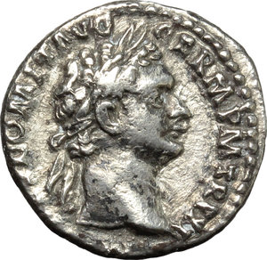obverse: Domitian (81-96).  AR Denarius, 91 AD. Obv. IMP CAES DOMIT AVG GERM PM TR P XI. Laureate head right. Rev. IMP XXI COS XV CENS PPP. Minerva standing left, holding spear. RIC 159. C. 267. AR. g. 3.41  mm. 17.50    VF.