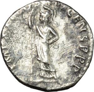 reverse: Domitian (81-96).  AR Denarius, 91 AD. Obv. IMP CAES DOMIT AVG GERM PM TR P XI. Laureate head right. Rev. IMP XXI COS XV CENS PPP. Minerva standing left, holding spear. RIC 159. C. 267. AR. g. 3.41  mm. 17.50    VF.
