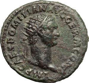 obverse: Domitian (81-96).  AE Dupondius. Obv. IMP CAES DOMITIAN AVG GERM COS [XI]. Radiate head right. Rev. FORTVNAE AVGVSTI SC. Fortune standing left, holding rudder and cornucopiae. RIC 264 var. (Fortune seated, in error?). C. 120. AE. g. 12.82  mm. 29.00   Dark green patina. Good VF.