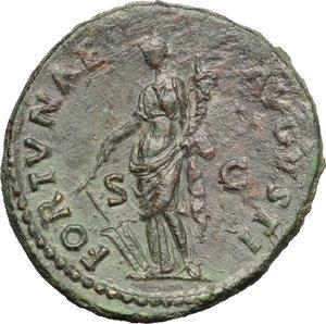 reverse: Domitian (81-96).  AE Dupondius. Obv. IMP CAES DOMITIAN AVG GERM COS [XI]. Radiate head right. Rev. FORTVNAE AVGVSTI SC. Fortune standing left, holding rudder and cornucopiae. RIC 264 var. (Fortune seated, in error?). C. 120. AE. g. 12.82  mm. 29.00   Dark green patina. Good VF.