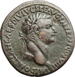 obverse: Domitian (81-96).  AE Sestertius, Thrace (?), 82 AD. Obv. IMP DOMITIAN CAES DIVI VESP F AVG PM TR PPP COS VIII. Laureate head right. Rev. S-C. Mars advancing right, holding spear and trophy. RIC (Lugdunum) 449. RPC 531 (Thrace). AE. g. 24.79   R. Rare. Brown patina. VF/F.