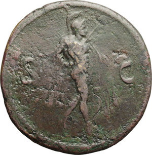 reverse: Domitian (81-96).  AE Sestertius, Thrace (?), 82 AD. Obv. IMP DOMITIAN CAES DIVI VESP F AVG PM TR PPP COS VIII. Laureate head right. Rev. S-C. Mars advancing right, holding spear and trophy. RIC (Lugdunum) 449. RPC 531 (Thrace). AE. g. 24.79   R. Rare. Brown patina. VF/F.