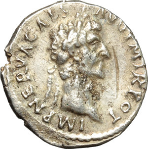 obverse: Nerva (96-98).  AR Denarius, 97 AD. Obv. IMP NERVA CAES AVG PM TR POT. Laureate head right. Rev. COS III PATER PATRIAE. Priestly emblems. RIC 23. AR. g. 2.73  mm. 18.00  Scarce. Well centred and nicely toned. Minor scratches on obverse, otherwise about EF.