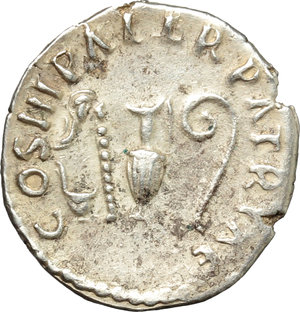 reverse: Nerva (96-98).  AR Denarius, 97 AD. Obv. IMP NERVA CAES AVG PM TR POT. Laureate head right. Rev. COS III PATER PATRIAE. Priestly emblems. RIC 23. AR. g. 2.73  mm. 18.00  Scarce. Well centred and nicely toned. Minor scratches on obverse, otherwise about EF.