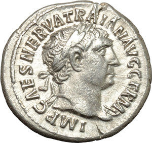 obverse: Trajan (98-117).  AR Denarius, 101-102 AD. Obv. IMP CAES NERVA TRAIAN AVG GERM. Laureate head right. Rev. PM TR P COS IIII PP. Hercules standing front on altar, holding club and lion-skin. RIC 49. C. 234. AR. g. 2.95  mm. 20.00   Hair-line crack at 12-1 o clock, otherwise about EF.