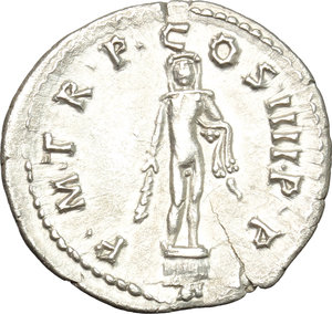 reverse: Trajan (98-117).  AR Denarius, 101-102 AD. Obv. IMP CAES NERVA TRAIAN AVG GERM. Laureate head right. Rev. PM TR P COS IIII PP. Hercules standing front on altar, holding club and lion-skin. RIC 49. C. 234. AR. g. 2.95  mm. 20.00   Hair-line crack at 12-1 o clock, otherwise about EF.