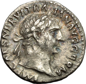 obverse: Trajan (98-117).  AR Denarius, 101-102 AD. Obv. IMP CAES NERVA TRAIAN AVG GERM. Laureate head right. Rev. PM TR P COS IIII PP. Mars walking right with spear and trophy. RIC 52. C. 228. AR. g. 3.13  mm. 18.00   A pleasant example, nicely toned. Good VF.