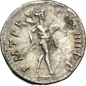 reverse: Trajan (98-117).  AR Denarius, 101-102 AD. Obv. IMP CAES NERVA TRAIAN AVG GERM. Laureate head right. Rev. PM TR P COS IIII PP. Mars walking right with spear and trophy. RIC 52. C. 228. AR. g. 3.13  mm. 18.00   A pleasant example, nicely toned. Good VF.
