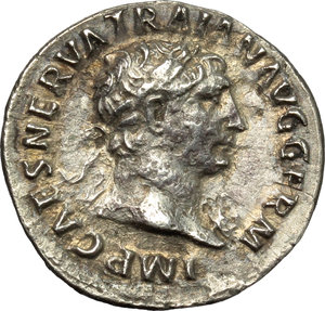 obverse: Trajan (98-117).  AR Denarius, 101-102 AD. Obv. IMP CAES NERVA TRAIAN AVG GERM. Laureate head right. Rev. PM TR P COS IIII PP. Victory standing to front, head left, holding wreath and palm. RIC 58. C. 240. AR. g. 3.17  mm. 18.00   An attractive example, lightly toned with golden hues. Good VF.