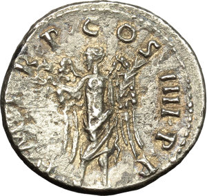 reverse: Trajan (98-117).  AR Denarius, 101-102 AD. Obv. IMP CAES NERVA TRAIAN AVG GERM. Laureate head right. Rev. PM TR P COS IIII PP. Victory standing to front, head left, holding wreath and palm. RIC 58. C. 240. AR. g. 3.17  mm. 18.00   An attractive example, lightly toned with golden hues. Good VF.