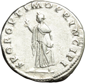 reverse: Trajan (98-117).  AR Denarius, 103-104 AD. Obv. IMP TRAIANO AVG GER DAC PM TR P COS V PP. Laureate bust right, with slight drapery on far shoulder. Rev. SPQR OPTIMO PRINCIPI. Spes walking left, holding flower and raising hem of skirt. RIC 191. C. 457. AR. g. 3.28  mm. 18.00   Brilliant, lightly toned. VF.