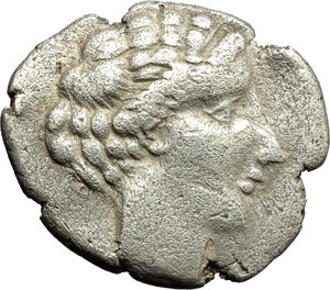 obverse: Italy. Northern Lucania, Velia.   AR Drachm, 440-400 BC. Obv. Head of nymph right, with hair arranged in set waves.  HN Italy 1272. AR. g. 3.63   R. Rare. Lightly porous. Prettily toned. VF.