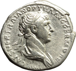 obverse: Trajan (98-117).  AR Denarius, 114-117 AD. Obv. IMP CAES NER TRAIAN OPTIM AVG GERM DAC. Laureate and draped bust right. Rev. PRO-VID PARTHICO PM TR P COS VI PP SPQR. Providentia standing left, holding sceptre; her left elbow rests on column and she points with right hand at globe at her feet. RIC 361. AR. g. 2.99  mm. 19.00   Good metal. Brilliant and lightly toned. VF.