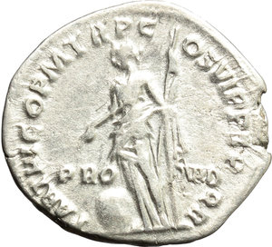 reverse: Trajan (98-117).  AR Denarius, 114-117 AD. Obv. IMP CAES NER TRAIAN OPTIM AVG GERM DAC. Laureate and draped bust right. Rev. PRO-VID PARTHICO PM TR P COS VI PP SPQR. Providentia standing left, holding sceptre; her left elbow rests on column and she points with right hand at globe at her feet. RIC 361. AR. g. 2.99  mm. 19.00   Good metal. Brilliant and lightly toned. VF.