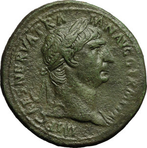 obverse: Trajan (98-117).  AE Sestertius, 98-99 AD. Obv. IMP CAES NERVA TRAIAN AVG GERM PM. Laureate bust right, with slight drapery on far shoulder. Rev. TR POT COS II PP SC. Pax seated left, holding branch and sceptre. RIC 383. C. 590. AE. g. 27.08  mm. 36.00   A superb portrait. Broad medallic flan. Lovely emerald green patina VF/About VF.