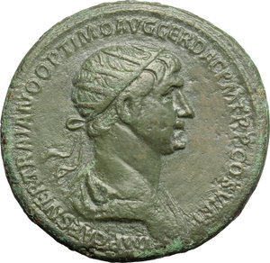 obverse: Trajan (98-117).  AE Dupondius, 114-117 AD. Obv. IMP CAES NER TRAIANO OPTIMO AVG GER DAC PM TR P COS VI PP. Radiate and draped bust right. Rev. SENATVS POPVLVSQVE ROMANVS SC. Felicitas, standing left, holding caduceus and cornucopiae. RIC 674. C. 353. AE. g. 13.63  mm. 27.50   Dark green patina. Fields gently smoothed. Good VF.