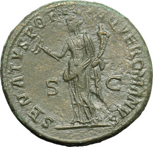 reverse: Trajan (98-117).  AE Dupondius, 114-117 AD. Obv. IMP CAES NER TRAIANO OPTIMO AVG GER DAC PM TR P COS VI PP. Radiate and draped bust right. Rev. SENATVS POPVLVSQVE ROMANVS SC. Felicitas, standing left, holding caduceus and cornucopiae. RIC 674. C. 353. AE. g. 13.63  mm. 27.50   Dark green patina. Fields gently smoothed. Good VF.