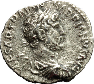 obverse: Hadrian (117-138).  AR Quinarius, 118 AD. Obv. IMP CAESAR TRAIAN HADRIANVS AVG. Laureate, draped and cuirassed bust right. Rev. PM TR P COS III. Victory advancing right, holding palm frond and wreath. RIC 36 (c). C. 1052. AR. g. 1.35  mm. 14.50  R. Rare. Prettily toned. VF.
