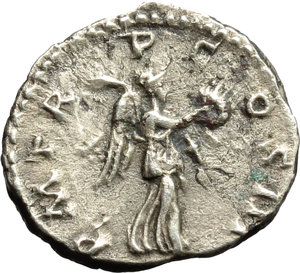 reverse: Hadrian (117-138).  AR Quinarius, 118 AD. Obv. IMP CAESAR TRAIAN HADRIANVS AVG. Laureate, draped and cuirassed bust right. Rev. PM TR P COS III. Victory advancing right, holding palm frond and wreath. RIC 36 (c). C. 1052. AR. g. 1.35  mm. 14.50  R. Rare. Prettily toned. VF.