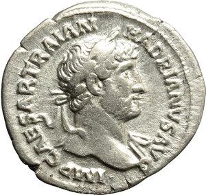 obverse: Hadrian (117-138).  AR Denarius, 119-122 AD. Obv. IMP CAESAR TRAIAN HADRIANVS AVG. Laureate bust right, with slight drapery on far shoulder. Rev. PM TR P COS III. Mars advancing right, holding spear and trophy. RIC 67. AR. g. 3.03  mm. 19.50    VF/Good VF.