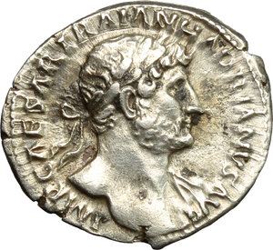 obverse: Hadrian (117-138).  AR Denarius, 119-122. Obv. IMP CAESAR TRAIANVS AVG. Laureate bust right with drapery on far shoulder. Rev. PM TR P COS III. Aeternitas standing left, holding heads of Sun and Moon. RIC 81. C. 1114. AR. g. 3.55  mm. 19.00   Perfectly centred on a broad flan and superb, with a fascinating reverse. Lightly toned with golden hues. About EF/EF.