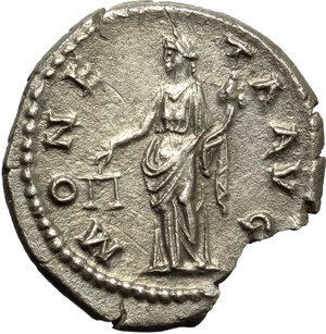 reverse: Hadrian (117-138).  AR Denarius, 134-138 AD. Obv. HADRIANVS AVG COS III PP. Bare head right. Rev. MONETA AVG. Moneta standing left, holding scales and cornucopiae. RIC 256. C. 963. AR. g. 2.96  mm. 18.50   From masterfully engraved dies. Superb cabinet tone. Broken, with a small piece missing, otherwise EF.