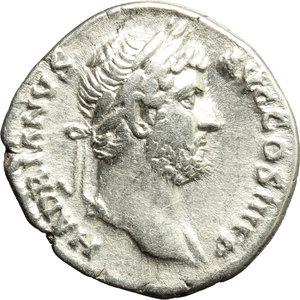 obverse: Hadrian (117-138).  AR Denarius, 134-138 AD. Obv. HADRIANVS AVG COS III PP. Laureate bust right, with slight drapery on far shoulder. Rev. PIETAS AVG. Pietas seated left, holding patera and sceptre. RIC 260. AR. g. 3.34  mm. 18.50    Good VF/VF.