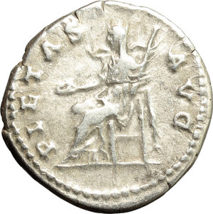 reverse: Hadrian (117-138).  AR Denarius, 134-138 AD. Obv. HADRIANVS AVG COS III PP. Laureate bust right, with slight drapery on far shoulder. Rev. PIETAS AVG. Pietas seated left, holding patera and sceptre. RIC 260. AR. g. 3.34  mm. 18.50    Good VF/VF.