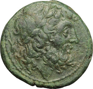 obverse: Italy. Bruttium, Brettii.   AE Unit, 211-208 BC. Obv. Wreathed head of Zeus right; behind, thunderbolt. Rev. ΒΡΕΤΤΙΩΝ. Naked warrior advancing right, with shield, helmet and spear; to lower right, bucranium. HN Italy 1988. AE. g. 7.07  mm. 22.00   Attractive green patina. Good VF.