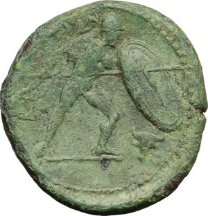 reverse: Italy. Bruttium, Brettii.   AE Unit, 211-208 BC. Obv. Wreathed head of Zeus right; behind, thunderbolt. Rev. ΒΡΕΤΤΙΩΝ. Naked warrior advancing right, with shield, helmet and spear; to lower right, bucranium. HN Italy 1988. AE. g. 7.07  mm. 22.00   Attractive green patina. Good VF.