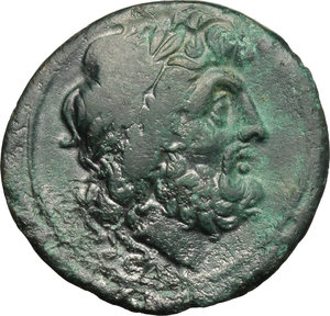 obverse: Italy. Bruttium, Brettii.   AE Unit, 211-208 BC. Obv. Wreathed head of Zeus right. Rev. ΒΡΕΤΤΙΩΝ. Naked warrior advancing right, with shield, helmet and spear; to lower right, flying owl. HN Italy 1988. AE. g. 7.10  mm. 22.00    Good VF.