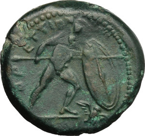 reverse: Italy. Bruttium, Brettii.   AE Unit, 211-208 BC. Obv. Wreathed head of Zeus right. Rev. ΒΡΕΤΤΙΩΝ. Naked warrior advancing right, with shield, helmet and spear; to lower right, flying owl. HN Italy 1988. AE. g. 7.10  mm. 22.00    Good VF.