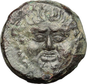 obverse: Sicily. Kamarina.   Æ Tetras or Trionkion, c. 420-405 BC. Obv. Facing gorgoneion. Rev. Owl standing left, holding lizard; three pellets in exergue. CNS II, 20. AE. g. 3.46  mm. 16.00    VF.