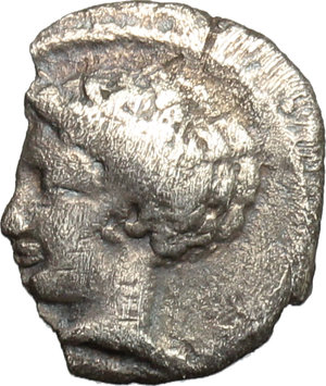 obverse: Sicily. Panormos-Ziz.   AR Litra, Punic Occupation, c. 410-400 BC. Obv. Young male head left. Rev. Forepart of river-god right; above, Punic legend  sys . Jenkins pl. 24, 13. SNG Cop. 508-510. SNG ANS 549-550. AR. g. 0.50  mm. 11.00  RR. Rare. Broken edge. VF.