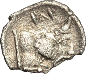 reverse: Sicily. Panormos-Ziz.   AR Litra, Punic Occupation, c. 410-400 BC. Obv. Young male head left. Rev. Forepart of river-god right; above, Punic legend  sys . Jenkins pl. 24, 13. SNG Cop. 508-510. SNG ANS 549-550. AR. g. 0.50  mm. 11.00  RR. Rare. Broken edge. VF.