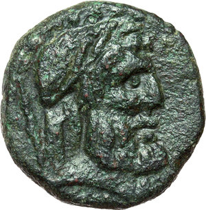 obverse: Sicily. Panormos.   AE 20 mm, mid-late 1st century B.C. Obv. Laureate head of Zeus right. Below, sceptre. Rev. [ ]TANOPV[ ]. Tetrastyle temple; below, CD. SNG ANS 570 var. AE. g. 8.34  mm. 20.00  R. Excellent quality for the issue. About VF.
