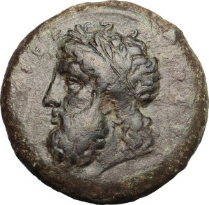 obverse: Sicily. Syracuse. Timoleon and the Third Democracy (344-317 BC).  AE Dilitron, 339-334 BC. Obv. [ZEYΣ EΛYΘEPIOΣ]. Laureate head of Zeus Eleutherios left. Rev. [ΣYPAKOΣIΩN], horse rearing left. CNS III, 101. AE. g. 19.37  mm. 27.00    VF.