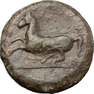 reverse: Sicily. Syracuse. Timoleon and the Third Democracy (344-317 BC).  AE Dilitron, 339-334 BC. Obv. [ZEYΣ EΛYΘEPIOΣ]. Laureate head of Zeus Eleutherios left. Rev. [ΣYPAKOΣIΩN], horse rearing left. CNS III, 101. AE. g. 19.37  mm. 27.00    VF.