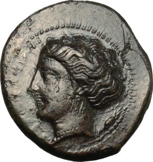 obverse: Sicily. Syracuse. Agathokles (317-289 B.C.).  AE 18mm, circa 317-310 BC. Obv. Wreathed head of Kore left; behind, ear of corn. Rev. Bull butting left; dolphin and Π above; H in exergue. CNS III, 101. AE. g. 3.61  mm. 18.00    EF.